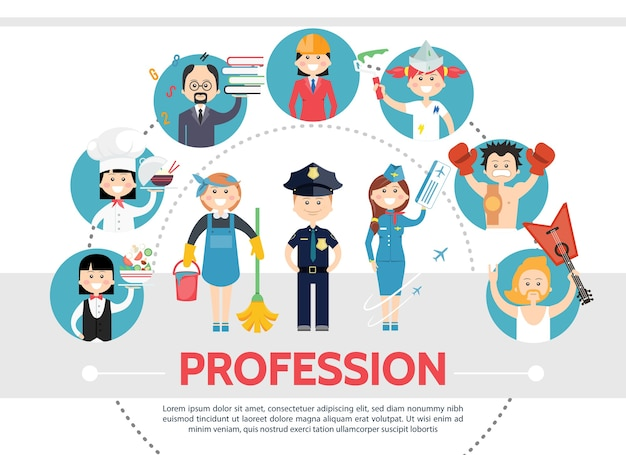 Plat professionele werknemers concept