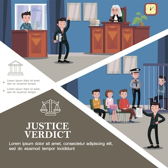 Plat rechtssysteem sjabloon met verschillende deelnemers aan de rechtszitting en gelukkig advocaat met document met gerechtelijke uitspraak voor de jury