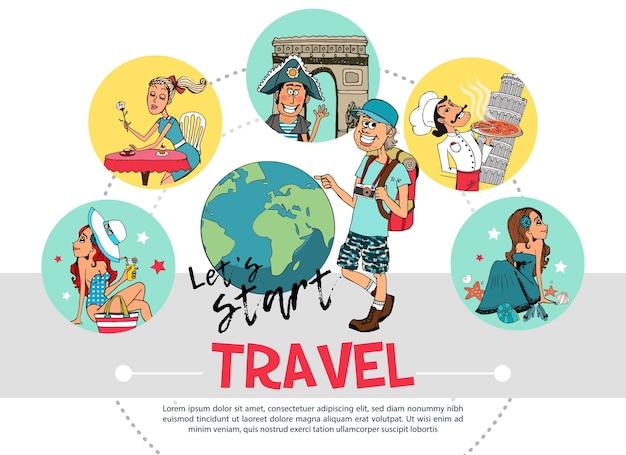 Plat reizen rond concept