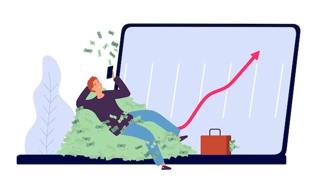 Plat rijk zakenman karakter met geld en laptop