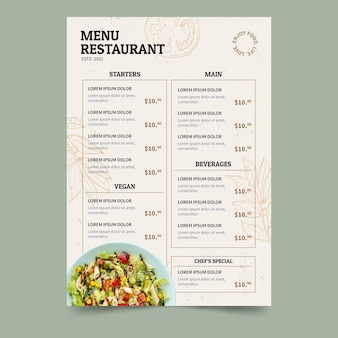 Plat rustiek veganistisch restaurantmenu met foto