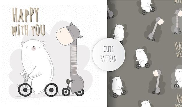 Plat schattig dier rijden fiets patroon set
