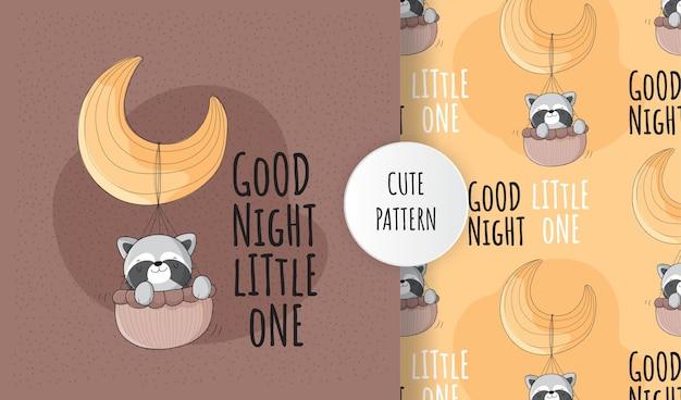 Plat schattig dier wasbeer gelukkig vliegen op de maan patroon set