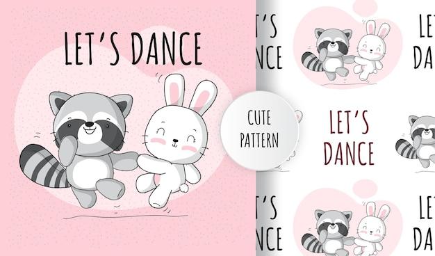 Plat schattig dier wasbeer met konijntje vrolijke dans