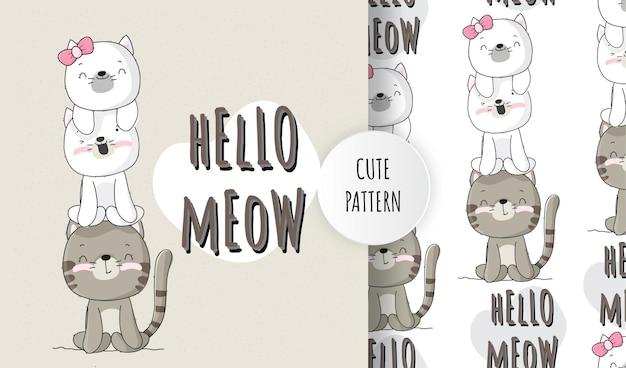 Plat schattig dierlijk katje met beste vriend patroon ingesteld