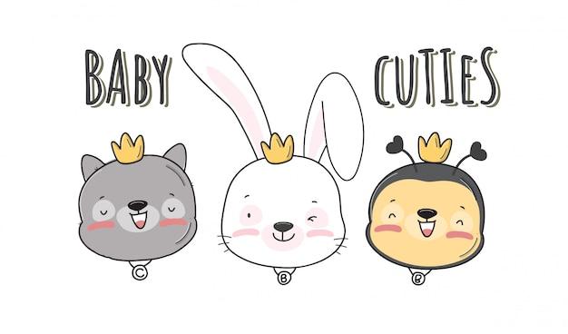 Plat schattig klein hoofd baby dier patroon illustratie