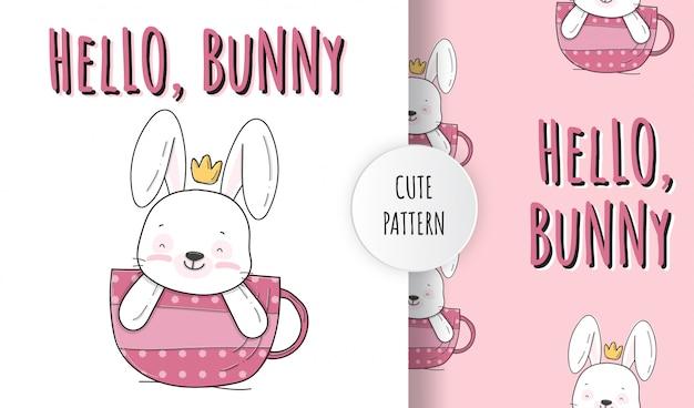 Plat schattig klein konijntje op de illustratie van het kop dierlijke patroon