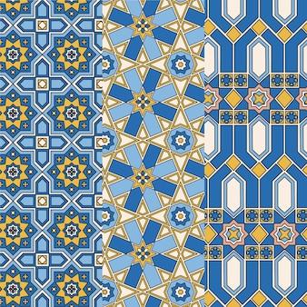 Plat sier arabisch patroon ingesteld