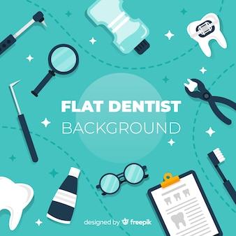Plat tandheelkundige gereedschappen achtergrond