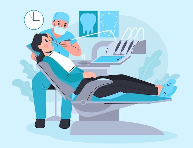 Plat tandheelkundige zorg concept