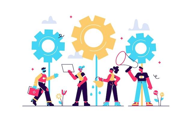 Plat, teamwerk aan het vinden van nieuwe ideeën, kleine mensen starten het mechanisme