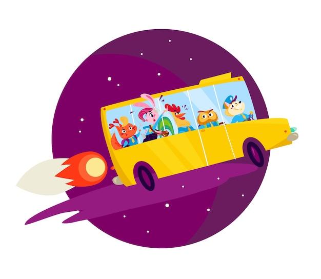 Plat terug naar school illustratie met grote gele schoolbus die als raket vliegt.