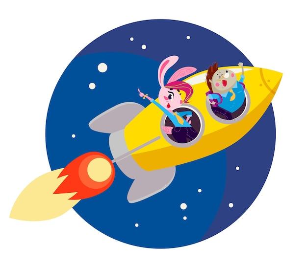 Plat terug naar school illustratie met vliegende grote gele raket op donkerblauwe hemel geïsoleerd.