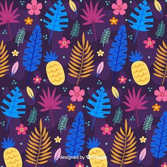 Plat tropisch bloem en bladerenpatroon