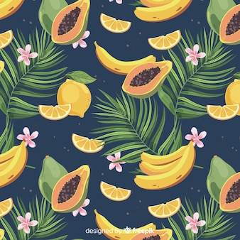 Plat tropisch fruit en palmenpatroon