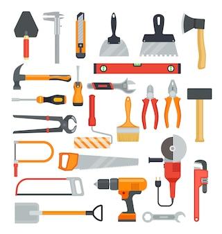 Plat uitrustingsstukken. hamer en boor, bijl en schroevendraaier. tang en zaag, moersleutel en schop. bouw gereedschap vector geïsoleerde pictogrammen instellen