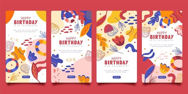 Plat verjaardagsontwerp van insta-verhalen