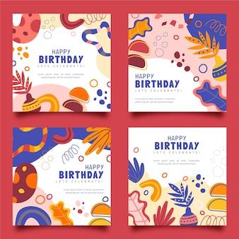 Plat verjaardagsontwerp van posts op sociale media Gratis Vector