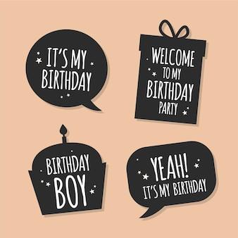 Plat verjaardagsontwerp van stickers