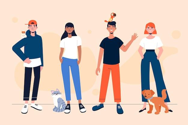 Plat verschillende mensen met huisdieren
