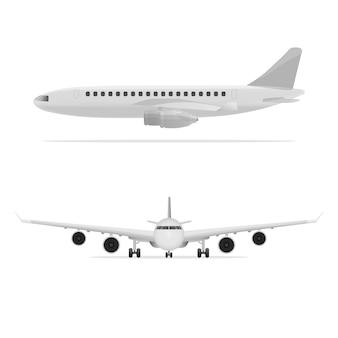 Plat vliegtuig in alle opzichten. vooraanzicht airliner, zijaanzicht airliner.