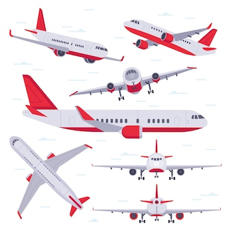 Plat vliegtuig. vliegtuigen vliegreizen, luchtvaartvleugels en landende vliegtuigen geïsoleerd
