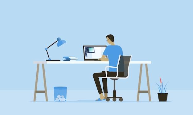 Plat werk vanuit huis werkplekconcept en zakelijk slim online werken overal verbinding concept