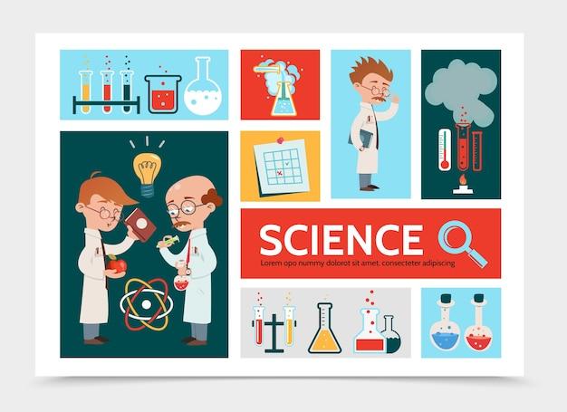 Plat wetenschappelijk onderzoek infographic concept met wetenschappers buizen kolven nota thermometer laboratorium