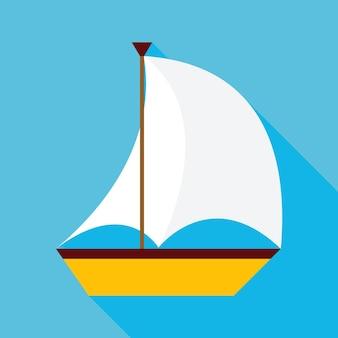 Plat zeilschip met lange schaduw. vectorillustratie plat gestileerd