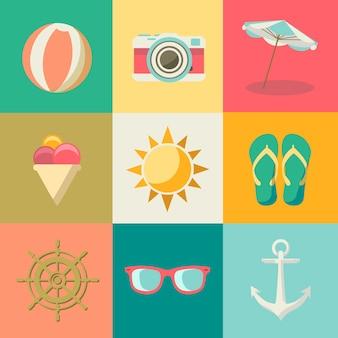 Plat zomer pictogrammen