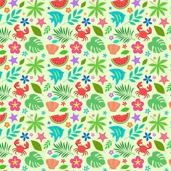 Plat zomer tropisch patroon