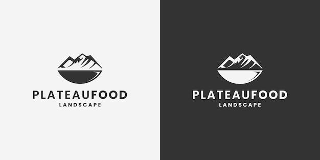 Plateauvoedsel, bergvoedsel, restaurantembleemontwerpvector