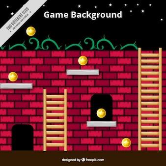 Platform game met een bakstenen muur