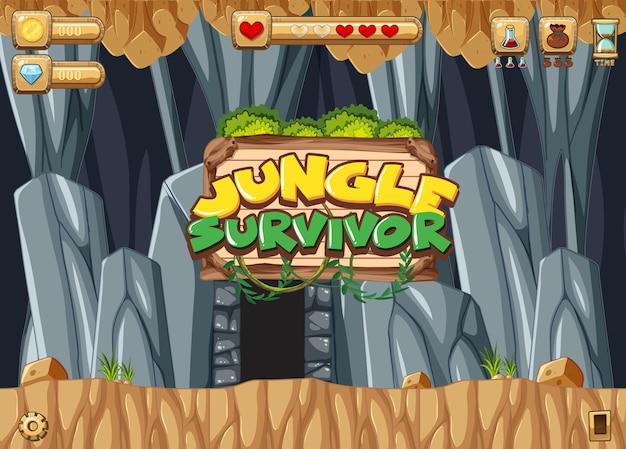 Platformgame-sjabloon met ondergronds lava-thema