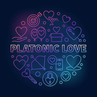 Platonische liefde vector ronde gekleurde omtrek illustratie