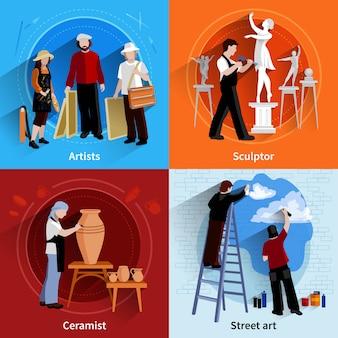 Platte 2x2 afbeeldingen set van kunstenaars beeldhouwer keramist en straatkunst schilders