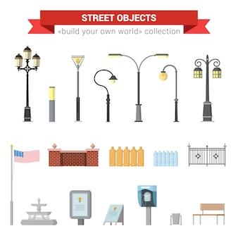 Platte 3d hoogwaardige stad straat stedelijke objecten icon set. straatverlichting, stadslicht, hek, amerikaanse vlag, fontein, bord, straattelefoon, bankje. bouw je eigen verzameling infographics van het wereldweb.