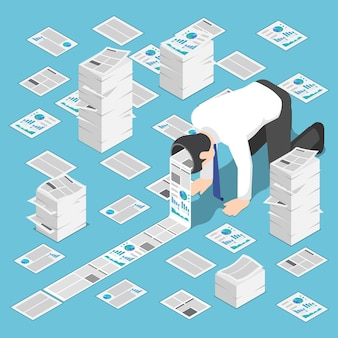 Platte 3d isometrisch veel documenten komen uit het hoofd van de zakenman. hardwerkend en informatie-overload concept.