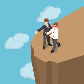 Platte 3d isometrische baas introduceerde geblinddoekte zakenman om naar de klif te lopen. zakelijke karakter slechte baas en elimineer zakelijk rivaliserend concept