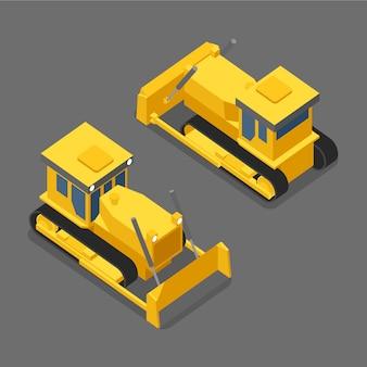 Platte 3d isometrische bulldozer pictogram