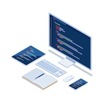 Platte 3d isometrische computercode op monitor smartphone en tablet die platformoverschrijdende website ontwikkelt. website ontwerp ontwikkeling code programmeerconcept.