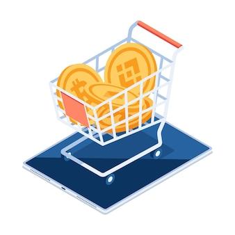 Platte 3d isometrische cryptogeld munt binnen winkelwagentje op digitale tablet. cryptocurrency exchange platform-concept.