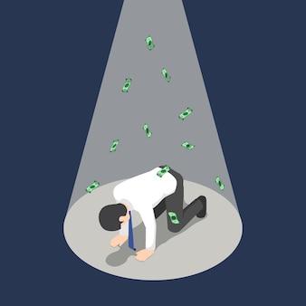 Platte 3d isometrische depressieve zakenman geknield onder de schijnwerpers met geld bankbiljet. faillissement en bedrijfsmislukkingsconcept.