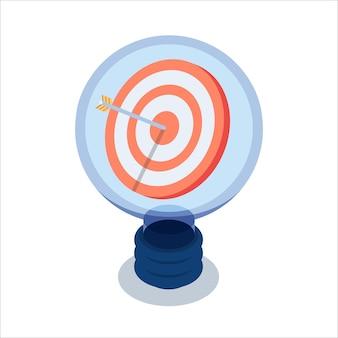 Platte 3d isometrische doel met pijl in het midden binnen gloeilamp. bedrijfsdoel en ideeconcept.