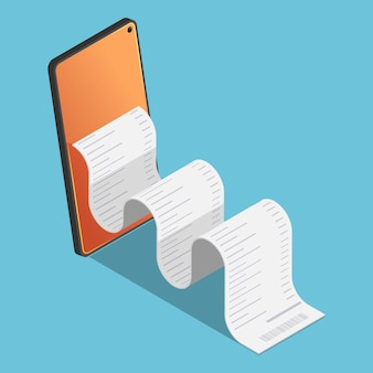 Platte 3d isometrische financiële rekening komt uit de smartphone. mobiel elektronisch betalen en internetbankieren concept.