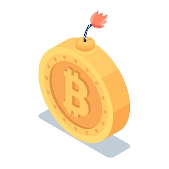 Platte 3d isometrische gouden bitcoin met brandende zekering. cryptocurrency en bitcoin-crisisconcept.