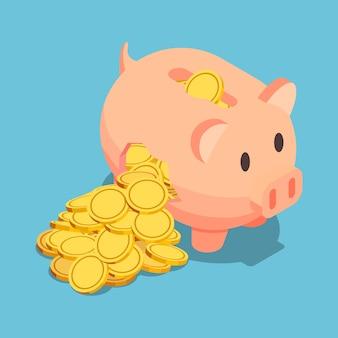 Platte 3d isometrische gouden munt komt uit gebroken spaarvarken. financieel crisisconcept.