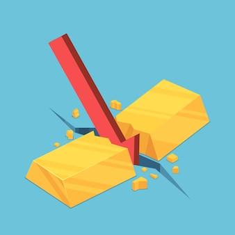 Platte 3d isometrische goudstaaf gebarsten door rode vallende pijl. goudmarktcrisis en financieel concept.