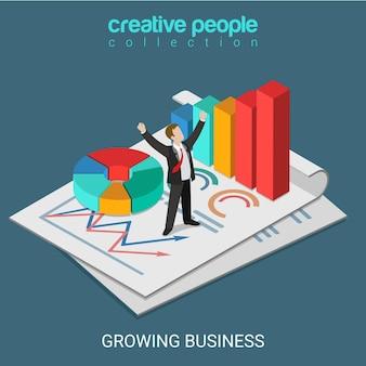 Platte 3d isometrische groeiende business concept web infographics illustratie