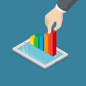 Platte 3d isometrische groeiende winst hand die zich uitstrekt staafdiagram van tablet concept